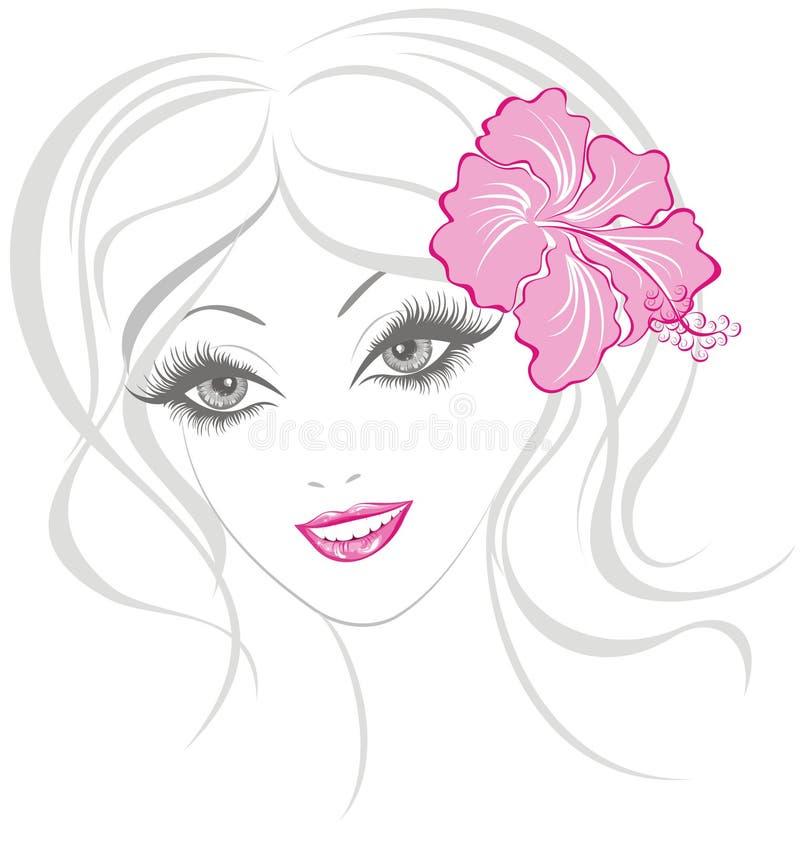 Schönheitsmädchen mit Hibiscus lizenzfreie abbildung