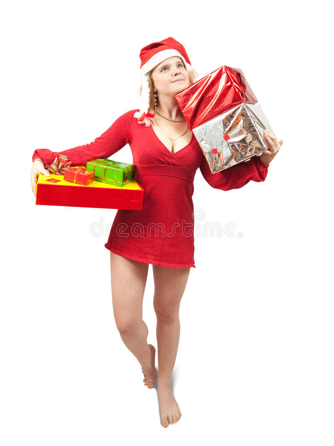 Schönheitsmädchen mit Weihnachtsgeschenken über Weiß stockfotos