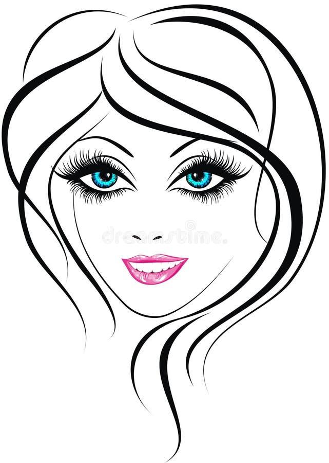 Schönheitsmädchengesicht stock abbildung