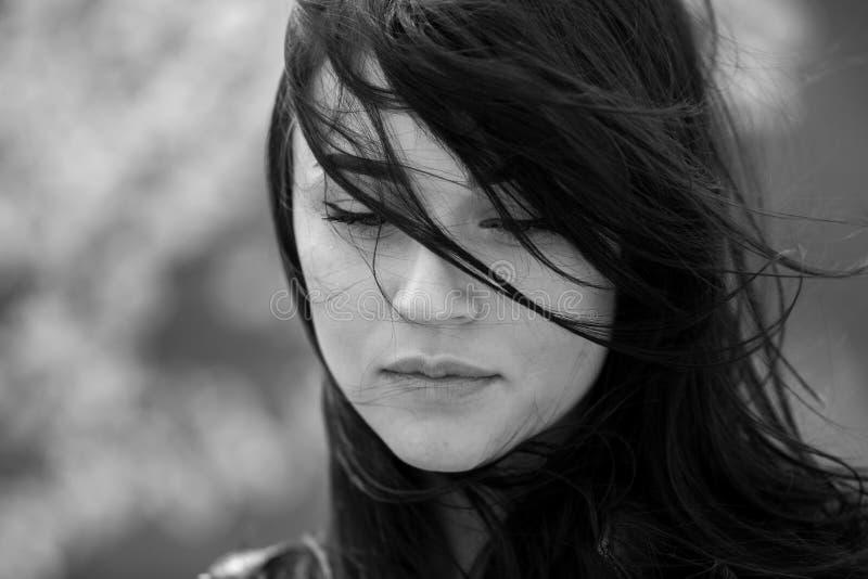 Schönheitsmodeporträt des jungen schönen brunette Mädchens mit dem langen schwarzen Haar und den grünen Augen Schönheitsporträt d lizenzfreie stockfotos