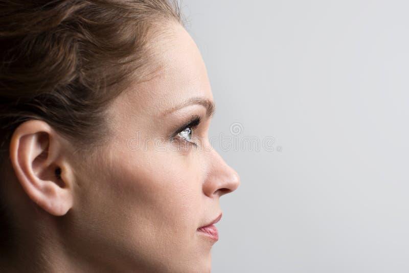 Schönheitsporträt des jungen Mädchens im Profil mit dem braunen Haar stockfotografie