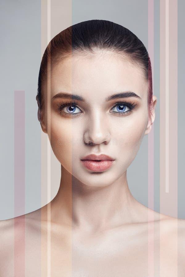 Schönheitsporträt einer Frau mit Geräuschstreifen, Make-upgesichtspflege stockfoto