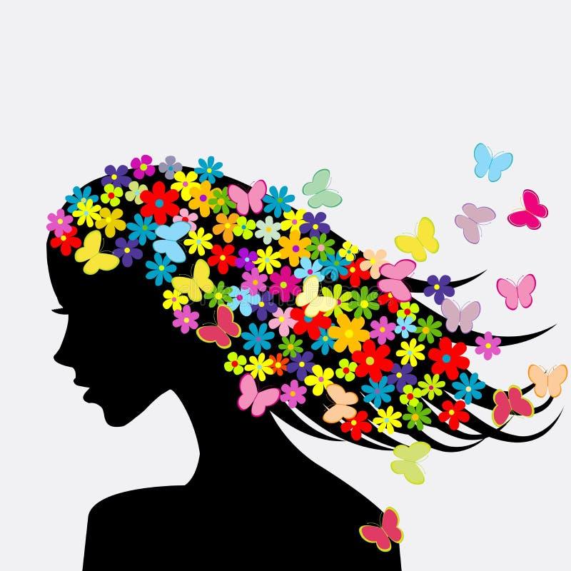 Schönheitsprofilschattenbild mit Blumen und Schmetterlingen lizenzfreie abbildung