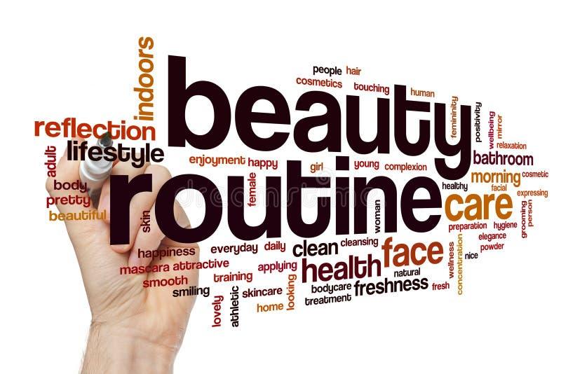 Schönheitsroutinewortwolke stockfoto