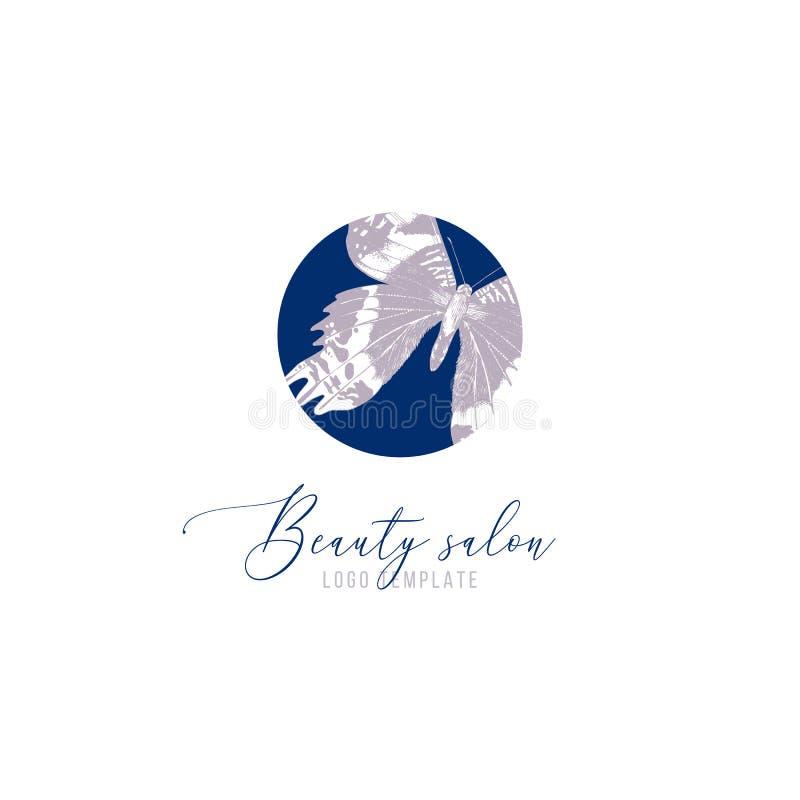 Schönheitssalon-Logoschablone mit Handgezogenem Schmetterling lizenzfreie abbildung