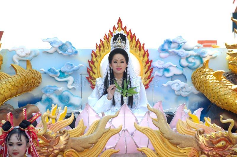 Schönheitssymbol von Guan Yin Goddess auf der Parade stockfotografie