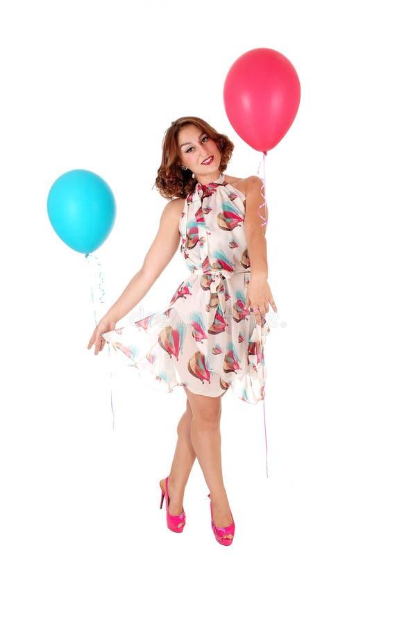 Schönheitstanzen Whit balloon& x27; s stockfoto