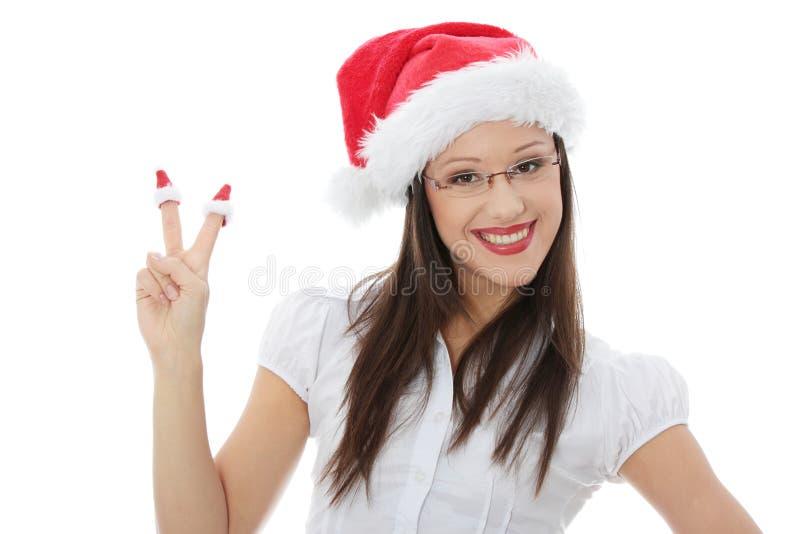Schönheitsweihnachtsfrauenholding-Weihnachtsspielzeug stockbilder