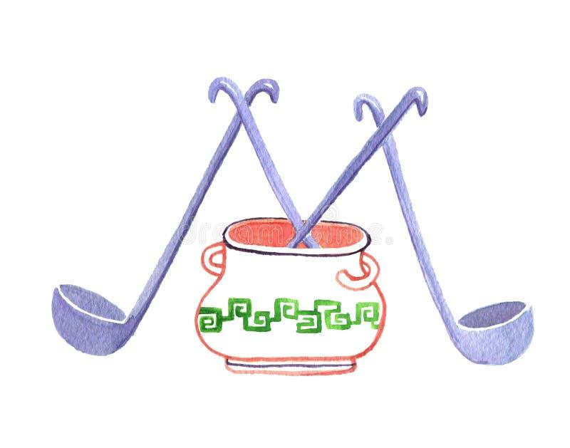 Schöpflöffel in einer Kasserolle als dem Buchstaben 'M ' watercolor Getrennt auf wei?em Hintergrund vektor abbildung