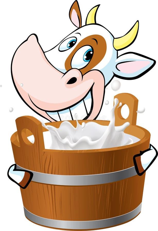 Schüchtern Sie das Halten eines Eimers voll von der Milch - Vektor ein stock abbildung