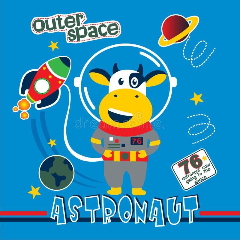 Schüchtern Sie die lustige Karikatur des Astronauten, Vektorillustration ein stock abbildung