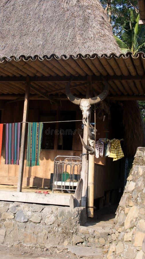 Schüchtern Sie Schädelhaus von Bena ein traditionelles Dorf mit Grashütten der Ngada-Leute in Flores, Indonesien ein lizenzfreies stockfoto