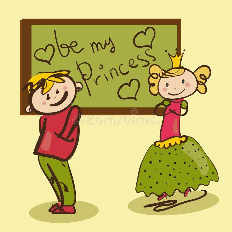 Schüchterner Junge in der Liebe mit dem kleine Prinzessin lustigen illustrati lizenzfreie abbildung