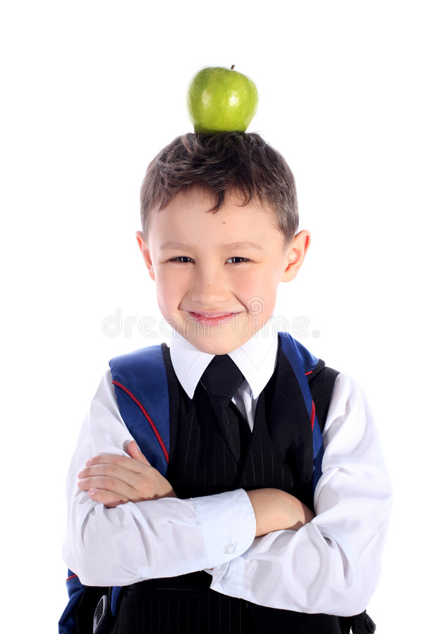 Schüler mit Apfel stockfotografie