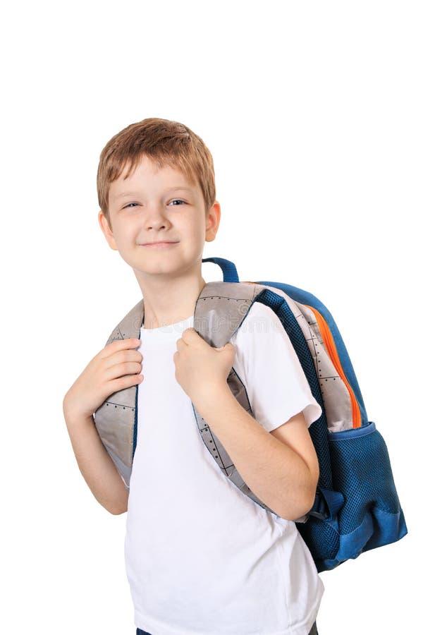 Schüler mit der Tasche lokalisiert auf Weiß stockfotografie