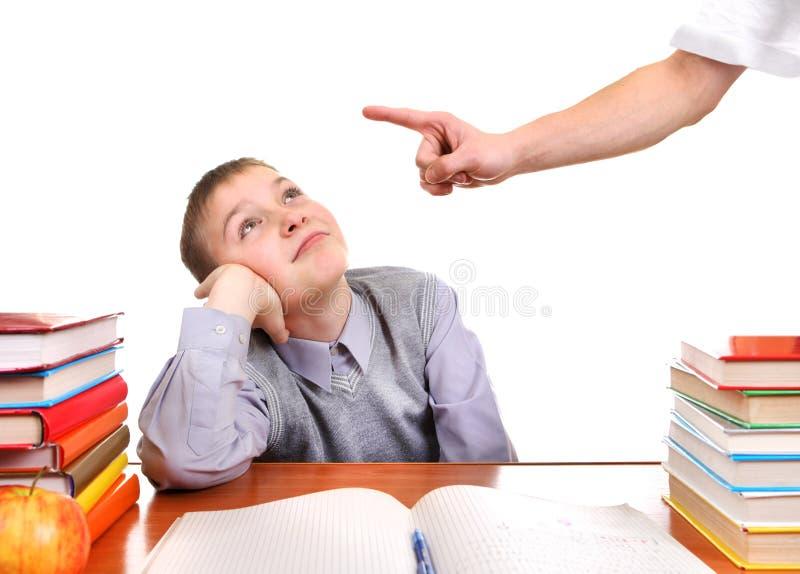 Schüler und strenges Elternteil stockfotos