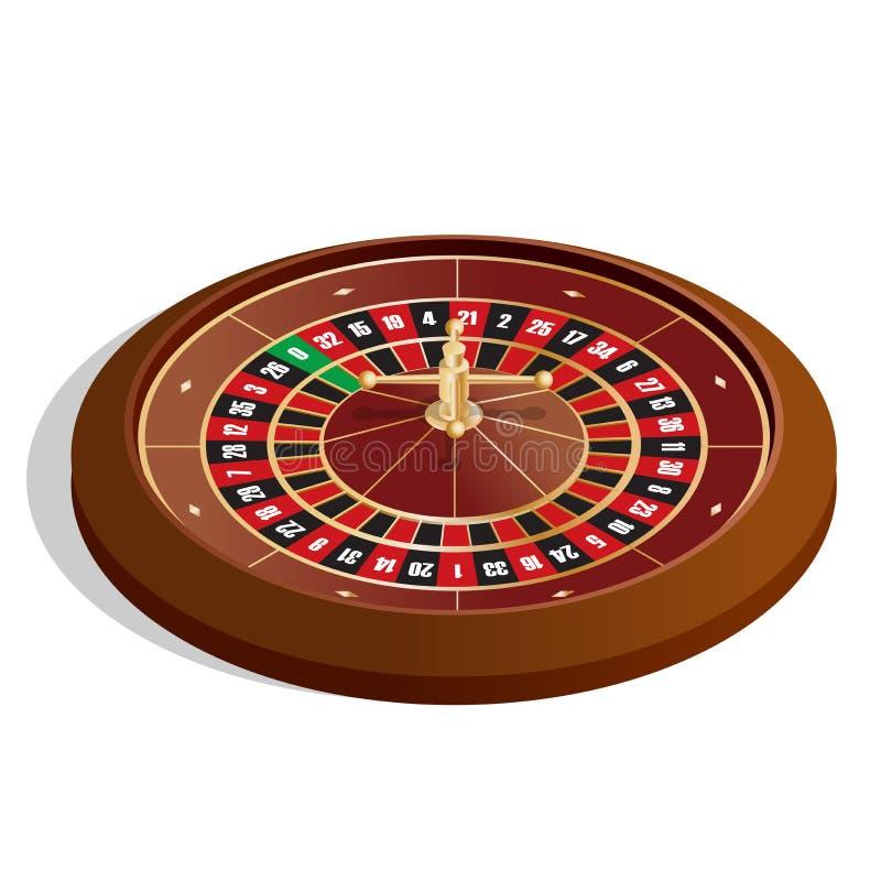 Schürhakenchips u Bild 3d Spielender Roulettekessel des realistischen Kasinos lokalisiert auf weißer Hintergrundvektorillustratio lizenzfreie abbildung