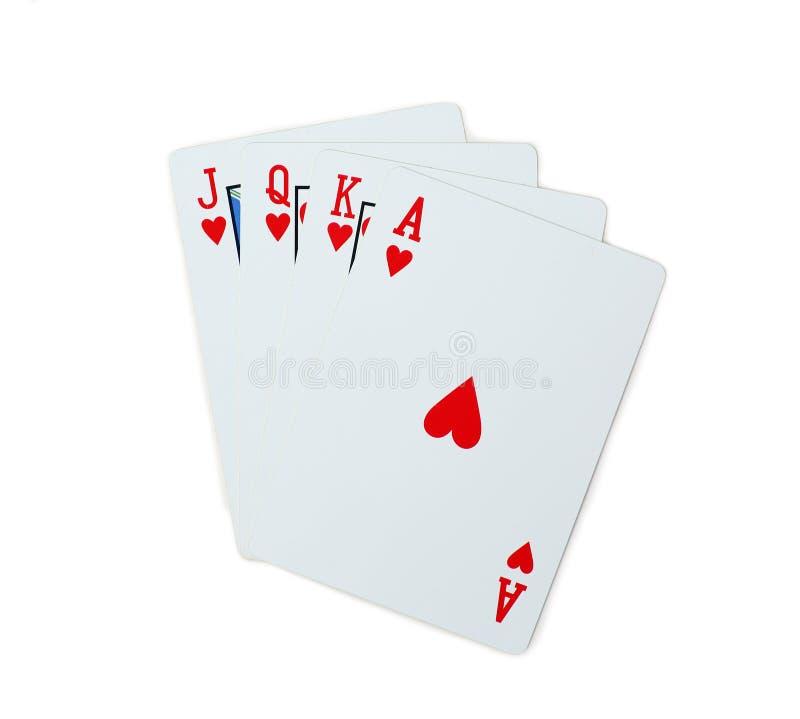 Schürhakenherzen von Spielkarten J Q K A lokalisiert auf weißem Hintergrund lizenzfreies stockbild