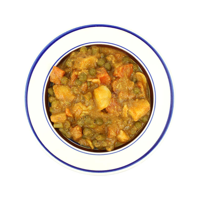 Schüssel des Mischgemüses in der Currysoße stockfotos