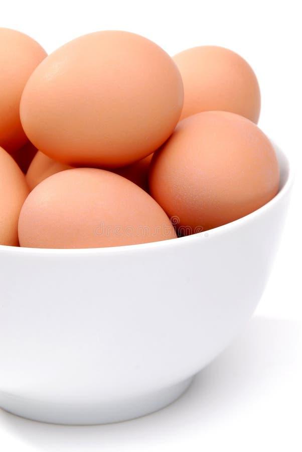 Schüssel Eier stockfoto