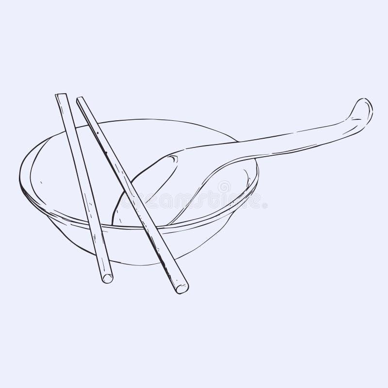 Schüssel, Essstäbchen und Löffel lizenzfreie abbildung