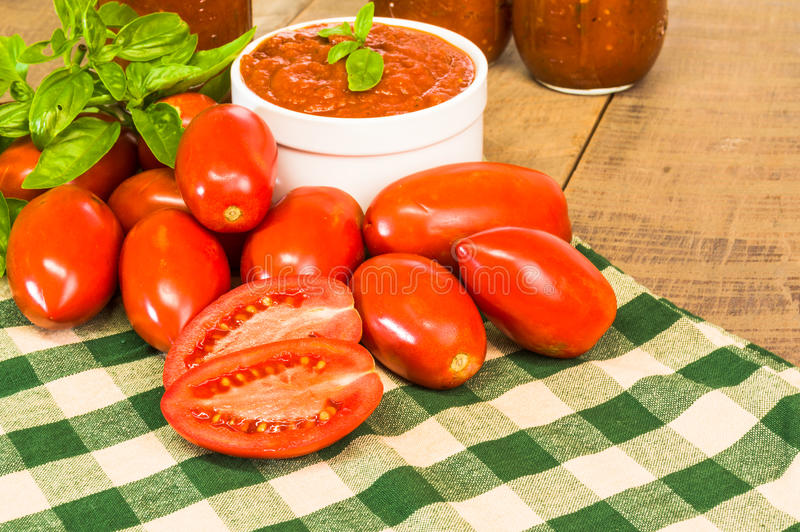Schüssel frische Tomatensauce mit Basilikum stockbilder