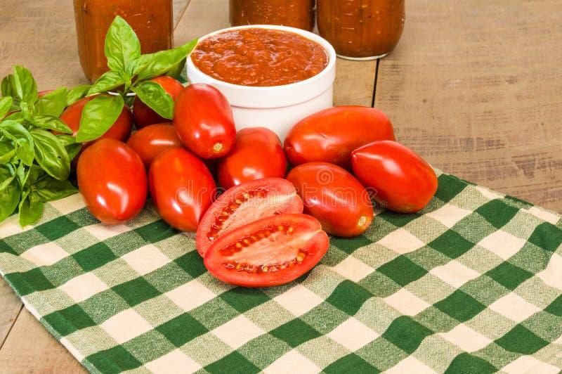 Schüssel frische Tomatensauce mit Basilikum lizenzfreies stockfoto