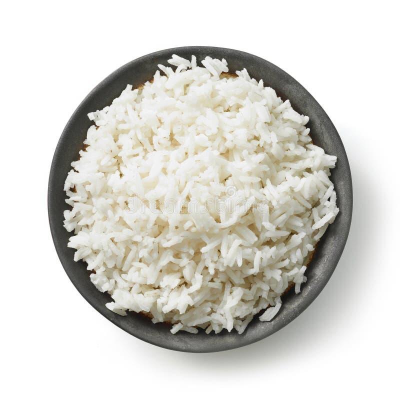 Schüssel gekochter Reis lizenzfreie stockfotos