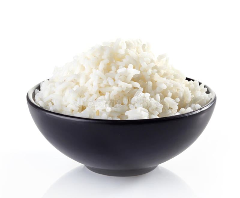 Schüssel gekochter Reis stockfotografie