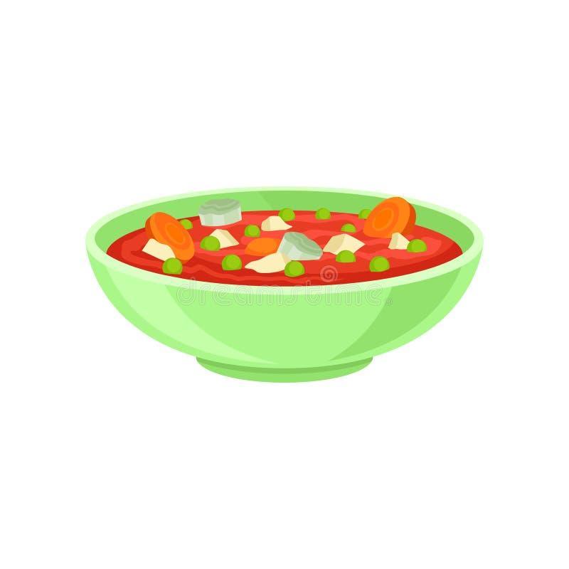 Schüssel geschmackvolle Sahnesuppe mit Gemüse Köstlicher Teller für Abendessen Gesunde Nahrung Flacher Vektor für Rezeptbuch oder vektor abbildung