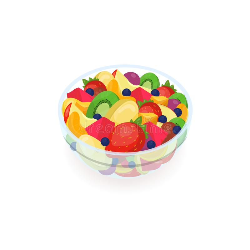 Schüssel geschmackvoller Salat gemacht von den frischen exotischen Früchten lokalisiert auf weißem Hintergrund Köstlicher selbst  vektor abbildung