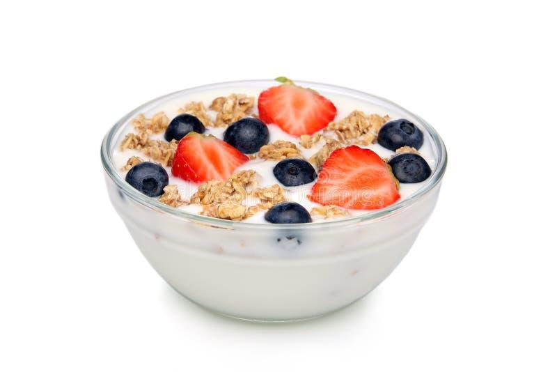 Schüssel Joghurt, mit muesli und Frucht stockbilder