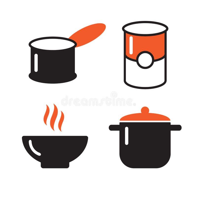 Schüssel, können und schwarze Ikonen des Topfes einstellen Suppensymbole Topfikonengerät-Schüsselgerät, Kochsuppengerät lizenzfreie abbildung