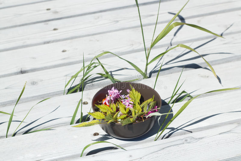 Schüssel mit Blumen auf einem Patio lizenzfreie stockfotos