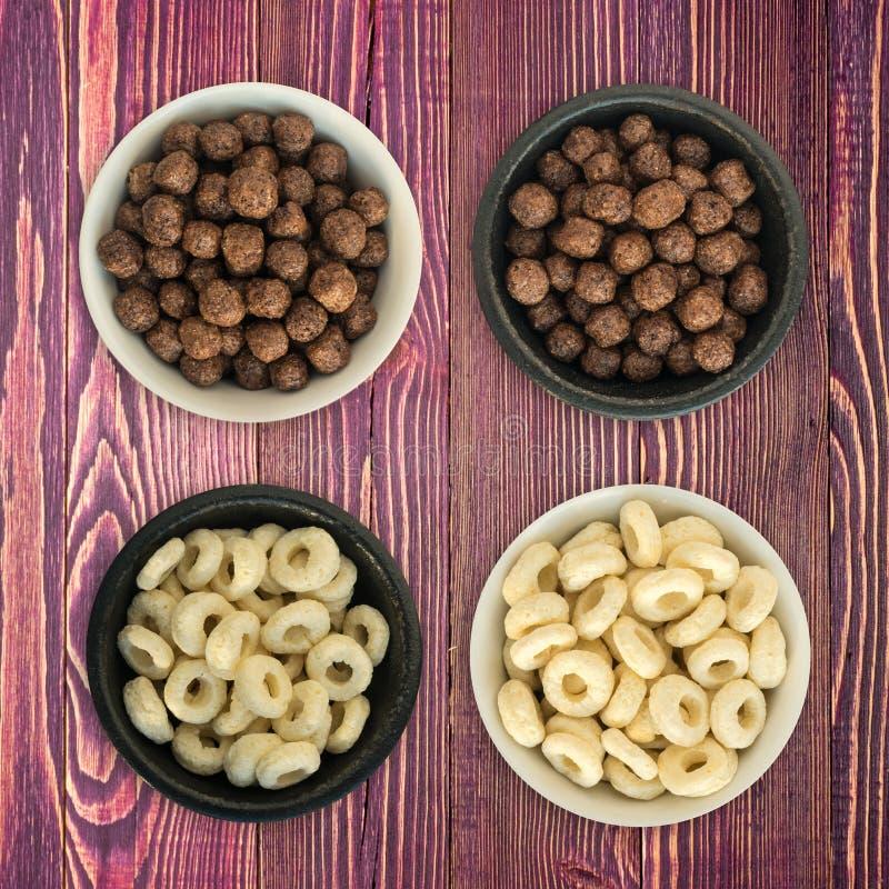 Schüssel mit Mais-Ringen und Bällen zum Frühstück lizenzfreie stockfotografie