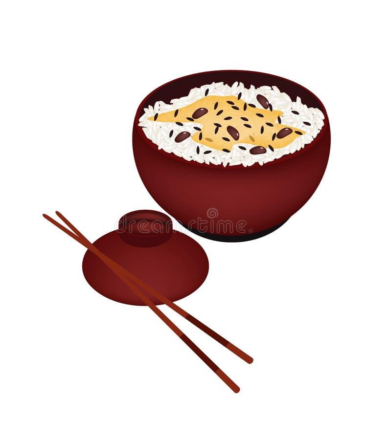 Schüssel Reis gekocht mit roten Bohnen lizenzfreie abbildung