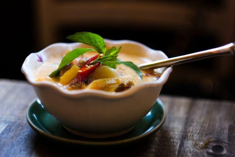 Schüssel thailändischer Curry stockbilder