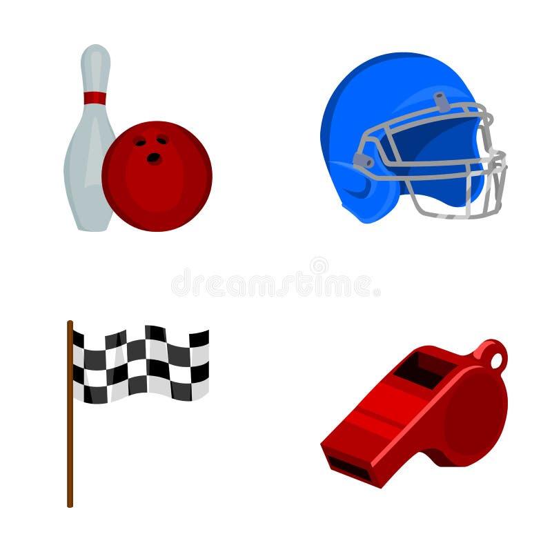 Schüssel und Bowlingspielstift für das Rollen, Schutzhelm für das Spielen des Baseballs, Checkbox, Referent, Pfeife für Trainer o lizenzfreie abbildung