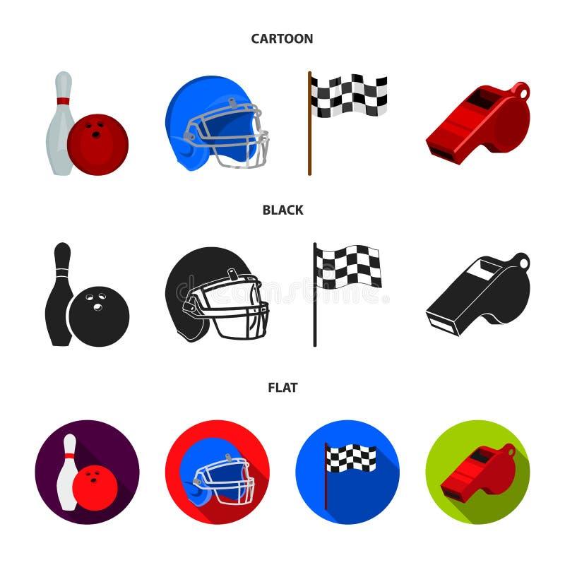 Schüssel und Bowlingspielstift für das Rollen, Schutzhelm für das Spielen des Baseballs, Checkbox, Referent, Pfeife für Trainer o stock abbildung