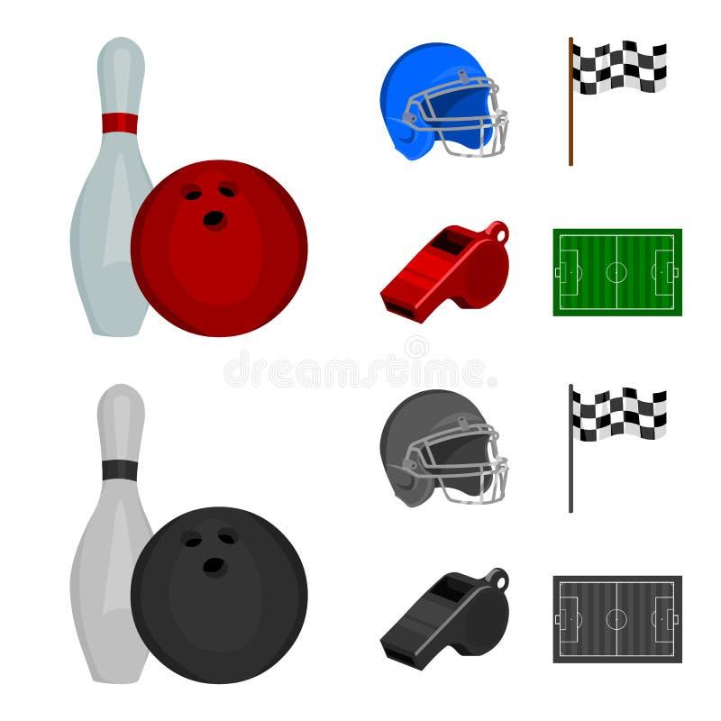 Schüssel und Bowlingspielstift für das Rollen, Schutzhelm für das Spielen des Baseballs, Checkbox, Referent, Pfeife für Trainer o vektor abbildung