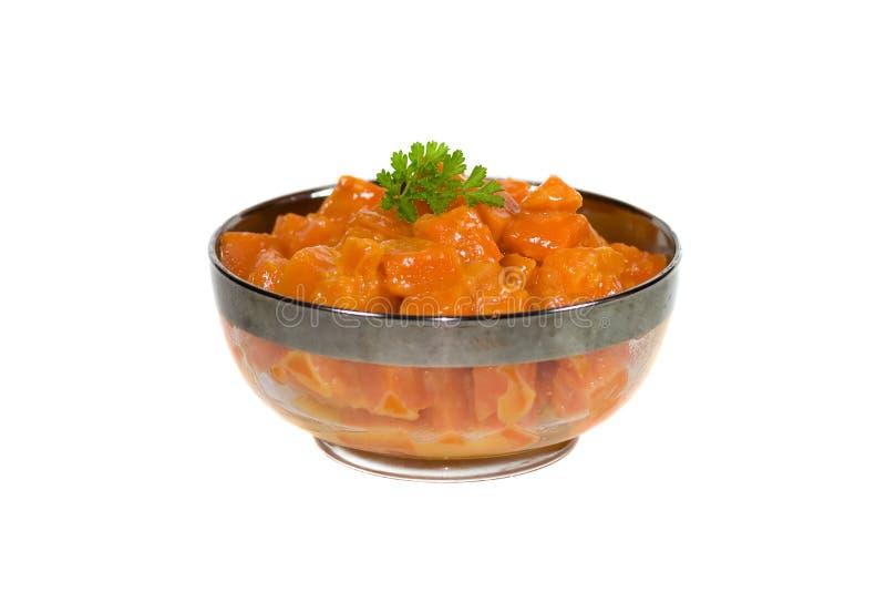 Schüssel Verglasung Karotten. lizenzfreies stockfoto