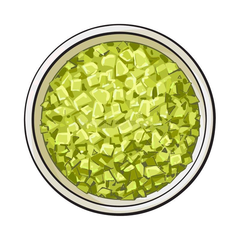 Schüssel von organischem, Grün aromatisch, Badesalz, Draufsichtillustration lizenzfreie abbildung