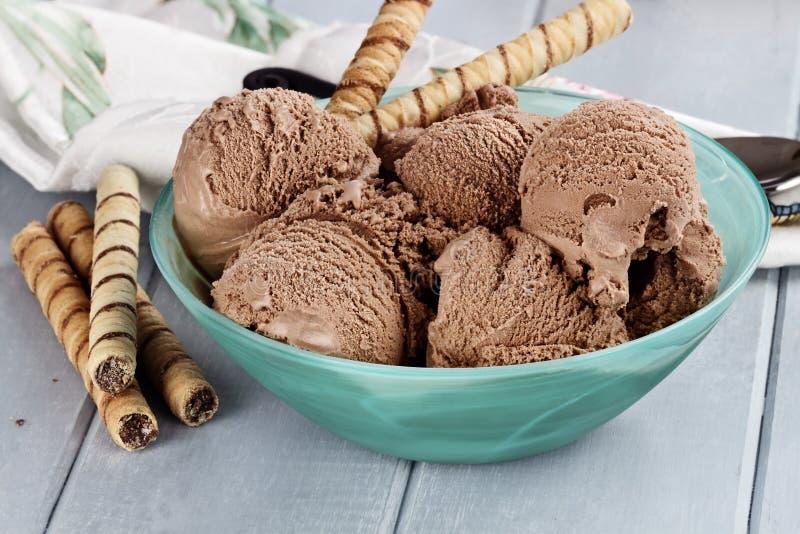 Schüssel von Rich Dark Chocolate Ice Cream stockbilder