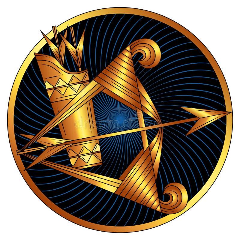 Schütze, goldenes Sternzeichen, Horoskopsymbol lizenzfreies stockbild