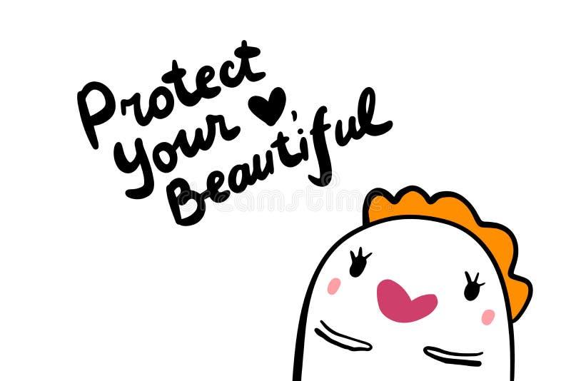 Schützen Sie Ihr Herzschönheitsmädchen Motivationsbeschriftung lizenzfreie abbildung