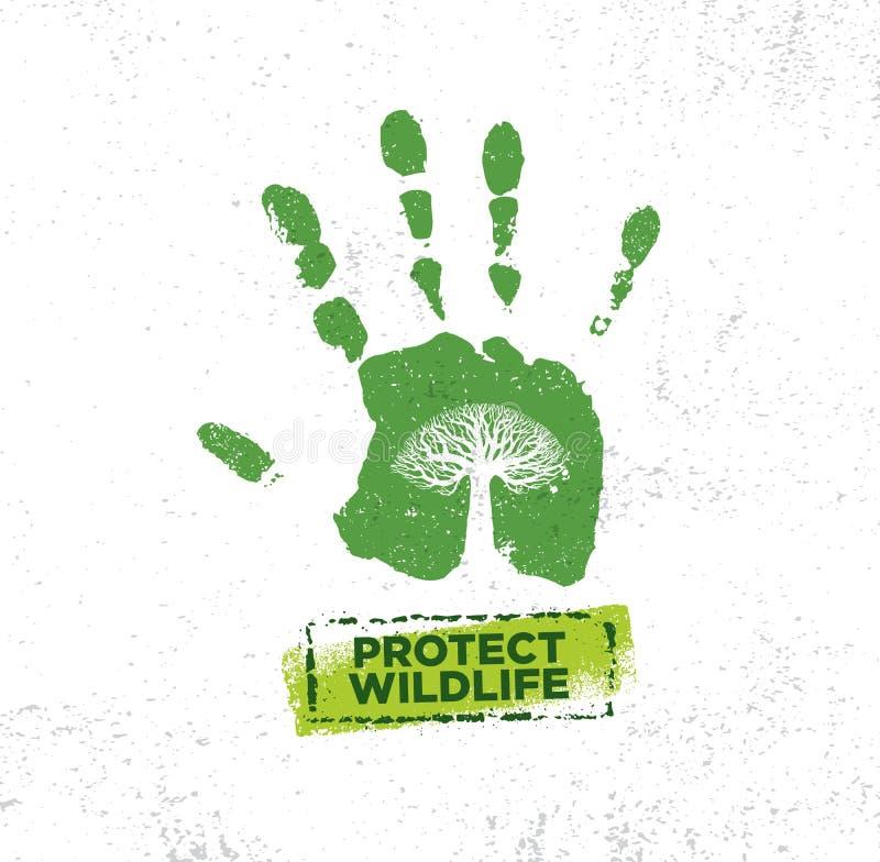 Schützen Sie wildes Leben Eco-Motivations-Zitat Vektor-Typografie-Fahnen-Konzept des Entwurfes stock abbildung