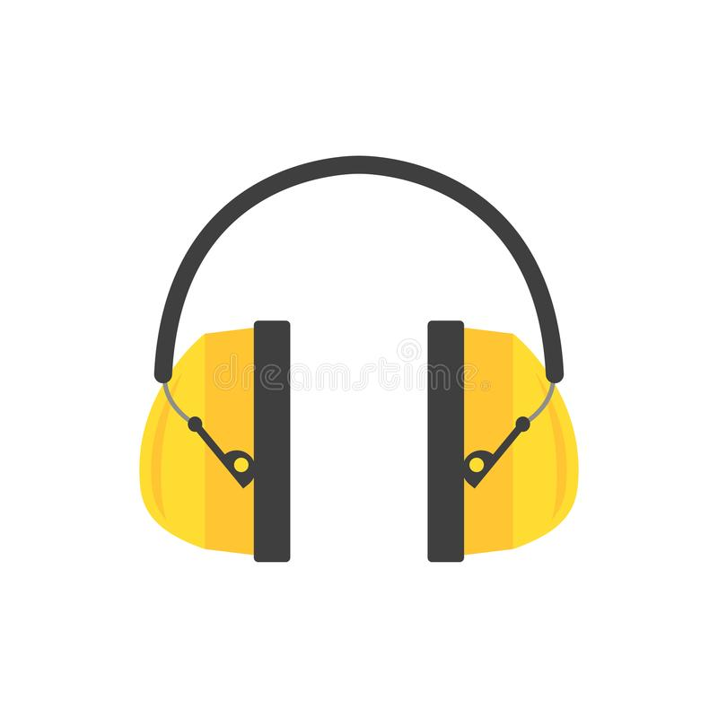 Schützende Ohrmuffen Gelbe Kopfhörer für Bauarbeiter Berufsausrüstung zur Hörensicherheit Flacher Vektor stock abbildung