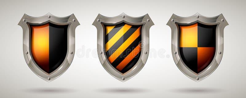Schützendes Stahlschutzschild mit Metallrahmen und Sicherheitsglas Realistische Art Lokalisierter Hintergrund vektor abbildung