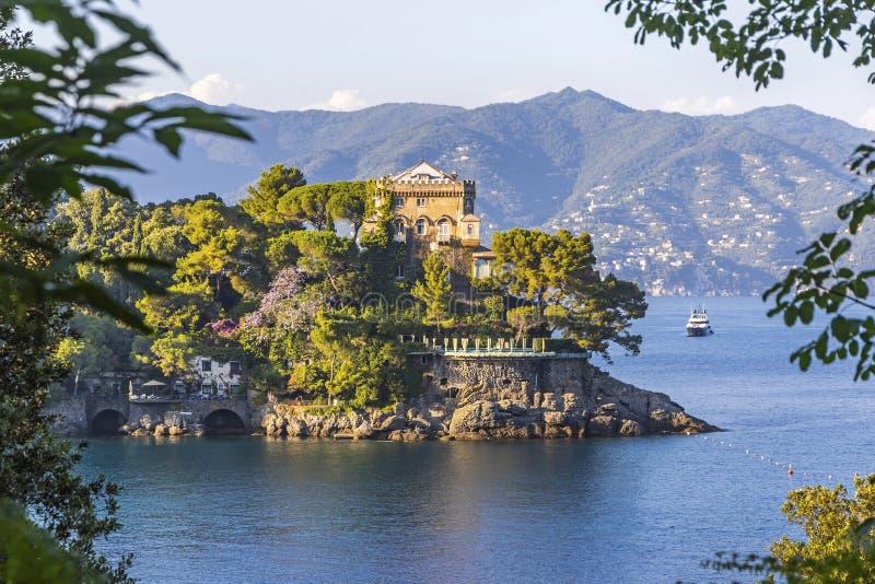 Sch?ne Ansicht der Bucht von Paraggi in Santa Margherita Ligure, Italien lizenzfreies stockbild