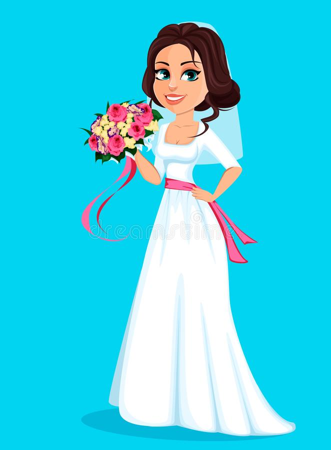 Sch?ne Braut, die Blumenstrau? von Blumen h?lt lizenzfreie abbildung